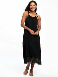 242143d0d460 Old Navy Women's Black Lightweight Crochet-Trim Swing Dress Size ...