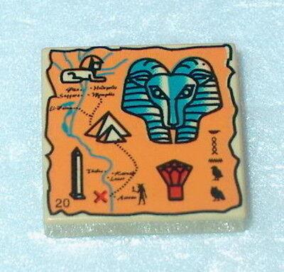 LEGO Tan 2x2 Decorated Egyptian Hieroglyphs 20 Tile