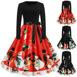 Womens-Vintage-Christmas-Bow-Swing-Dress-Ladies-Long-Sleeve-Party-Skater-Dresses