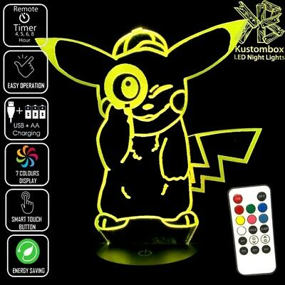 POKEMON DETECTIVE PIKACHU 3D LED BATTERY USB NIGHT LIGHT REMOTE CONTROL 7 COLOUR