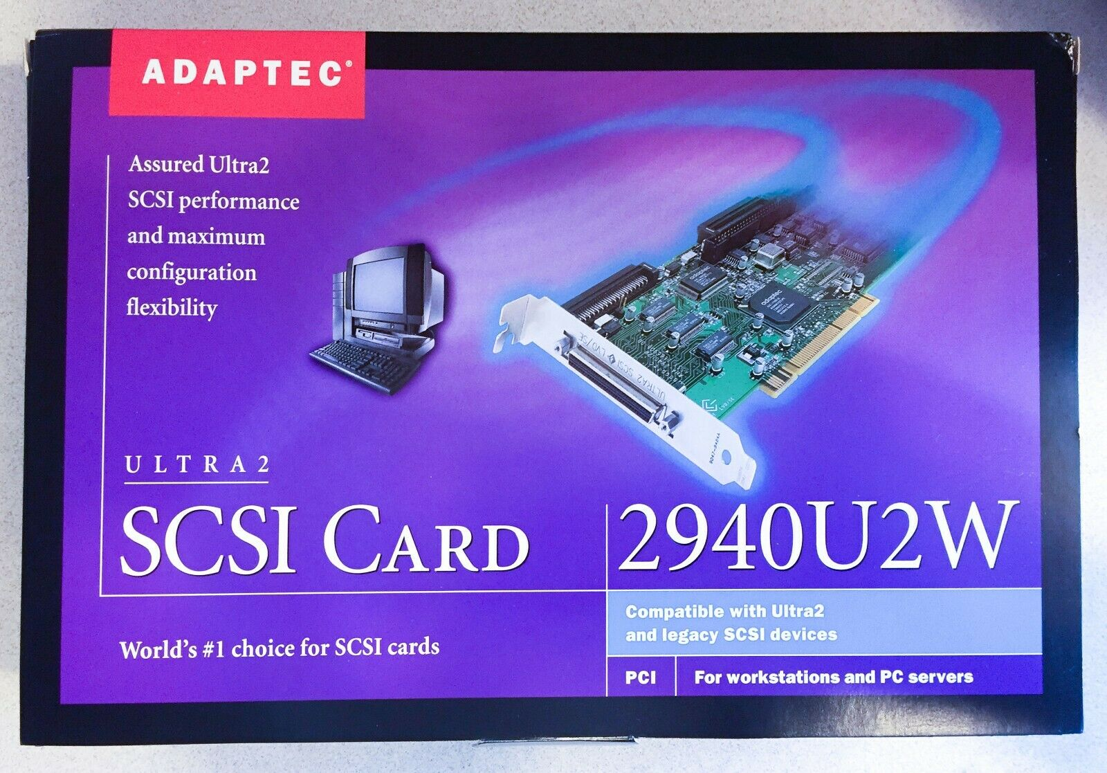 *COMPLETE KIT*ADAPTEC AHA-2940U2W WIDE ULTRA2 LVD/SE SCSI PCI ADAPTER CONTROLLER