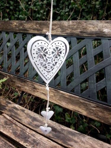 7,5 x 4,5 cm Hänger Herzen aus Metall geweisst