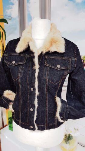 Donna 36 vero Jeansjacke gr Jacke 3 con Gesteppt Kaninchenfell zCxzArW4qw