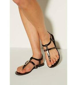Bar Black Size Post 4 Womens Detail In With Toe Sandals Uk Gold TzYzqBdw