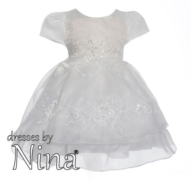 Ivory Baby Christening Dress Flower Girl Birthday Party Frock Sleeves 0 - 18mths