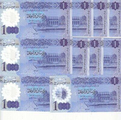 P-NEW Libya 1 Dinar Lybien Polymer 2019 UNC Lot 5 PCS