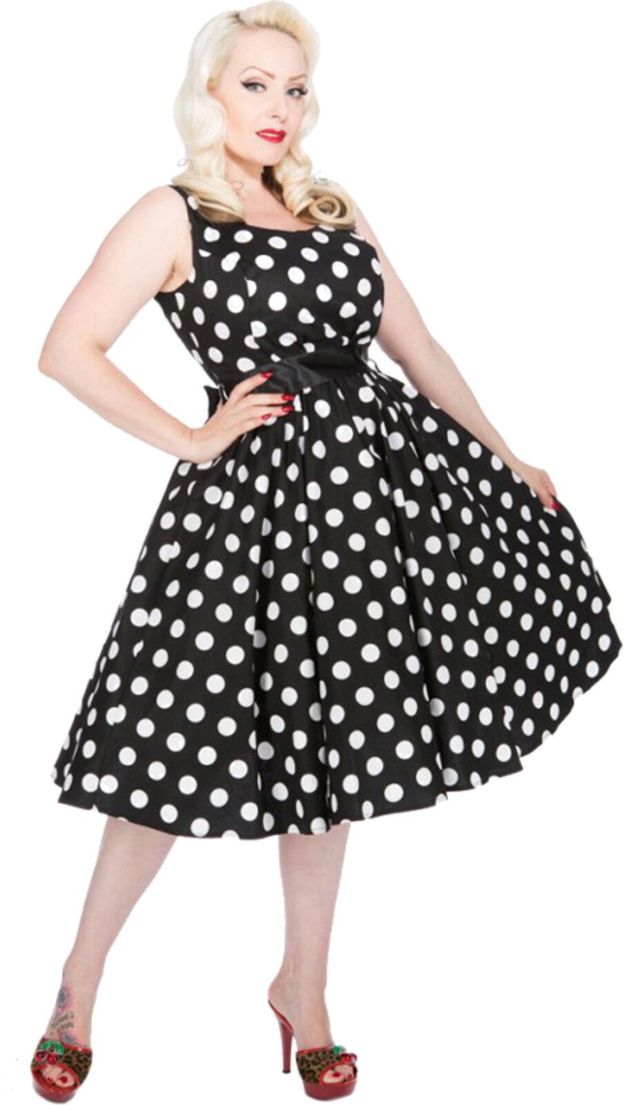 H & R Polka Dots 50s punti VINTAGE DRESS DRESS DRESS Abito Spalline-BLK Rockabilly 44ce16