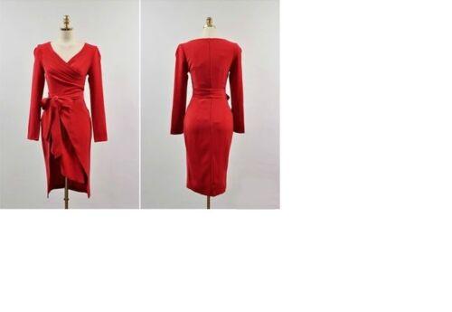 Tubino 3949 Elegante Maniche Lunghe Comodo Spacco Vestito Corto Rosso Abito gw4qFwX6Ox