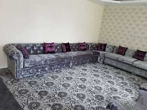 online store f3b4f e372a Details about Chesterfield Corner Sofa In Crushed Velvet (Any Colour)