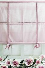 JULIA Rosa Raffrollo 120x120cm Vorhang Raffgardine Landhaus Shabby LEINENOPTIK
