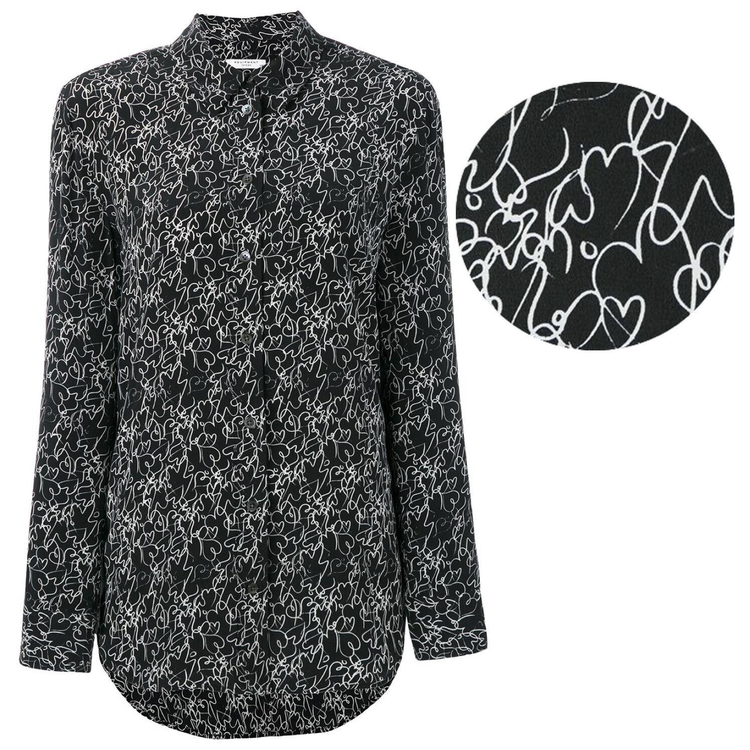 EQUIPMENT Reese Silk Shirt Blouse in True schwarz Heart Print Größe XS