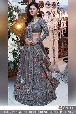 0aa72af82e Details about Lehenga Choli Online Shopping Indian Bollywood Wedding  Pakistani Grey Lehnga