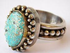 Vtg Denmark Georg Jensen Sterling Silver Turquoise Chunky Statement Ring sz 7