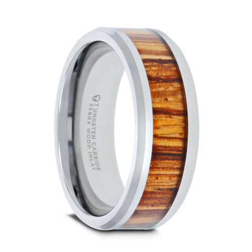 4mm 12mm PALMALETTO Wedding Ring Real Zebra Wood Inlay Polished Beveled Edges