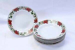 Gibson-Poinsettia-Holiday-Xmas-Soup-Bowls-8-034-Lot-of-8