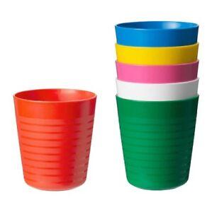 IKEA-New-Kalas-enfants-Mug-Pack-De-6-Assortiment-Couleur-Enfants-en-Plastique-Tasse