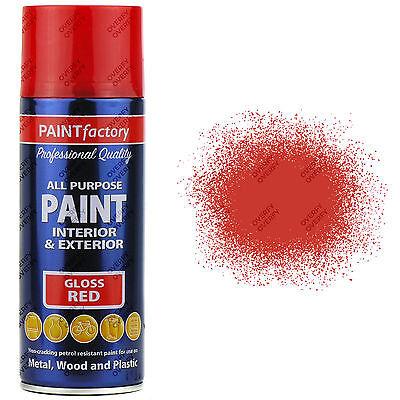 1 x 400ml All Purpose Red Gloss Aerosol Spray Paint Household Car Plastic