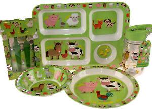 Ferme-5-pieces-melamine-Kid-039-s-Dinner-Set-Assiette-Bol-bac-ballon-couverts