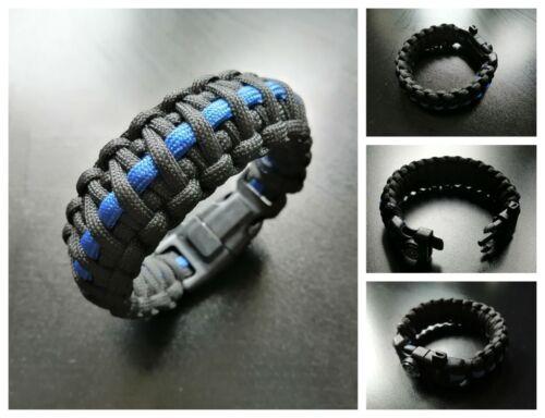 Police Thin Blue Line Survie Bracelet 5 différents Boucle Choix Diverses Tailles