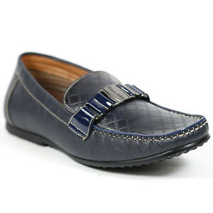 ferro aldo men's navy blue slip on driving loafers dress