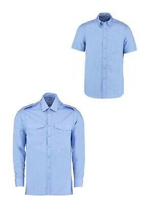 New Kustom Kit Light Blue Pilot Shirt Tailored Long Short Sleeve CLEARENCE