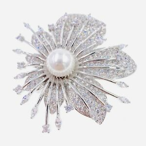 d5ee0d3e1996 USA FLOWER BROOCH PIN use Swarovski Crystal Gemstone Wedding Bridal ...