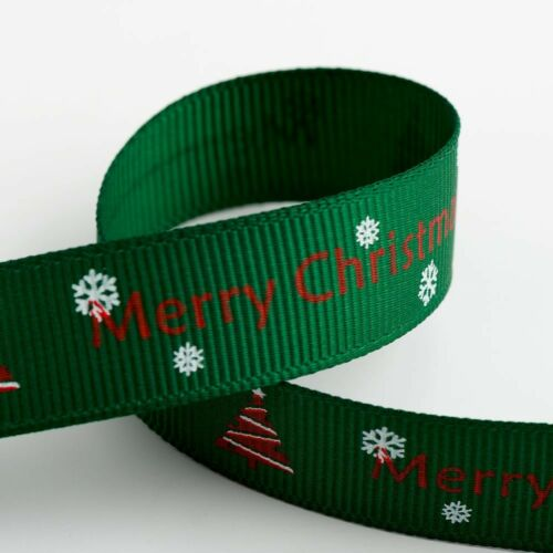 Christmas Grosgrain Ribbon 9mm 16mm Wide 5mtr Reel Cards Presents Xmas Crafts