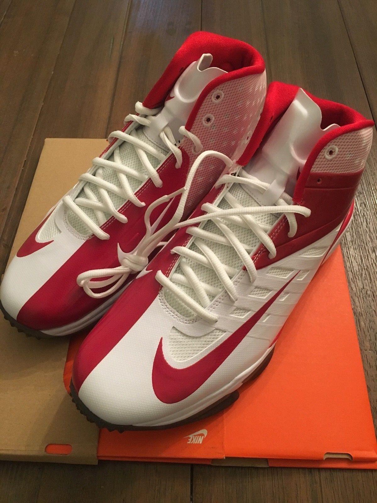 NEW MEN'S NIKE VAPOR PRO 3 4 NUBBY FOOTBALL Lacrosse 527878-166 RED WHITE Turf