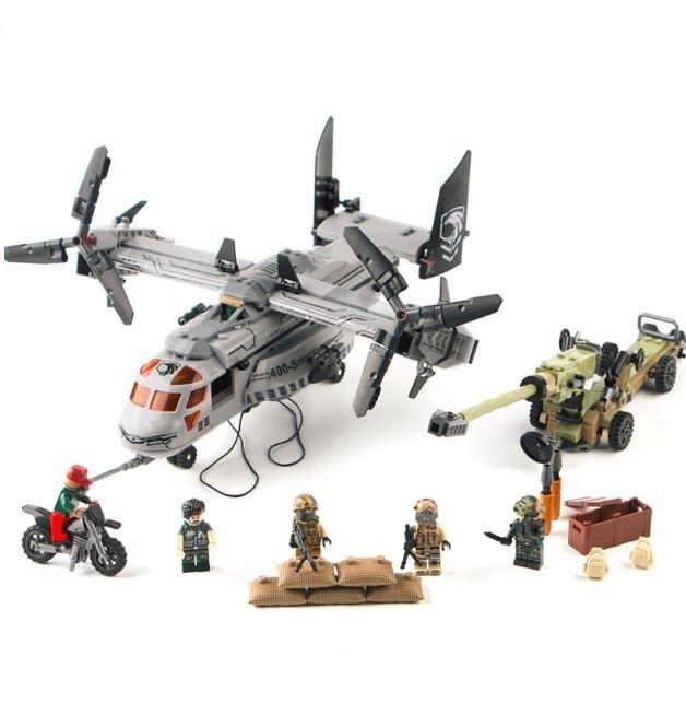 640pcs Hubschrauber Soldat Figur Modell Sets Militär Spezialeinheit Helicopter