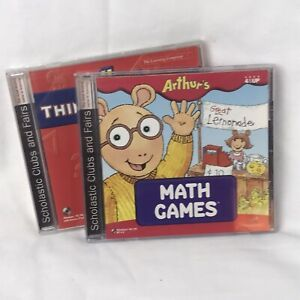 Lot-of-2-Arthur-s-Thinking-Games-and-Math-Games-Computer-Adventure-for-PC-CD-ROM