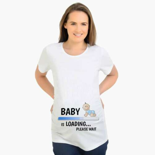 Baby 2019 Loading Pregnant Women T Shirt Short Sleeve Footprint Maternity Tops