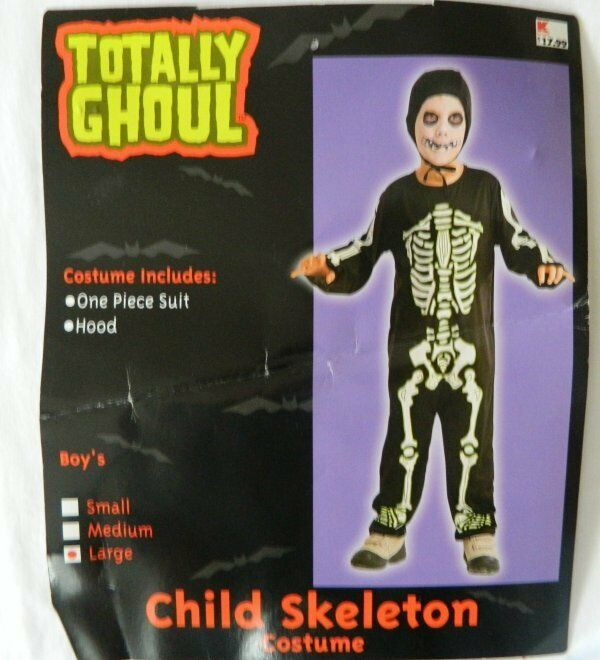 Boys Skeleton Costume Large Totally Ghoul Pretend Play