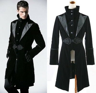 Manteau veste goth gothique gothic baroque velours trompe l'oeil noir homme