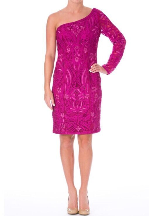 SUE WONG Fuchsia Embroiderot One Shoulder Dress w  Soutache Größe 6  NWT