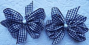 2-NAVY-BLUE-AND-WHITE-GINGHAM-3-034-INCH-RIBBON-HAIR-BOWS-ALLIGATOR-CLIP-SET-NEW