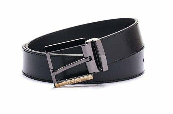 cc55eefa Versace Collection Men's Black Leather Silver Buckle Adjustable Belt V91S202
