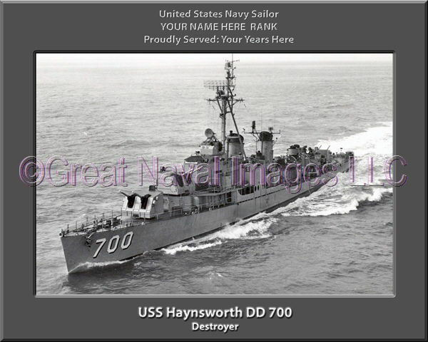 USS Haynsworth DD 700 Personalized Canvas Ship Photo Print Navy Veteran Gift