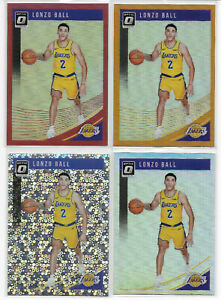 4-LONZO-BALL-2018-19-OPTIC-PRIZM-HOLO-ORANGE-RED-SPARKLE-SP-LOT-Pelicans-Lakers
