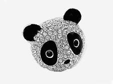 Fun Black & White Crystal Panda Head Ring sz7