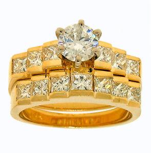 2-10ct-ROUND-Prong-PRINCESS-Channel-Set-Diamond-Wedding-Engagement-Ring-Set
