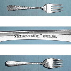 "S Kirk /& Son Old Maryland Engraved 6-3//8/"" Salad Fork Sterling Silver No Mono"