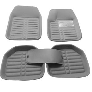 Auto-Carpet-Car-Floor-Mats-Front-Rear-PU-Leather-Gray-left-right-Universal