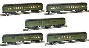 Rivarossi-Santa-Fe-60ft-Passenger-RPO-Baggage-Coaches-Set-Of-5-Cars