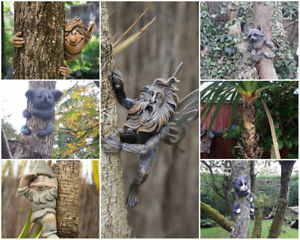 Novelty-Resin-Garden-Tree-Hugger-Peeker-Animal-Fairy-Ornament-Outdoor-Fence-Shed