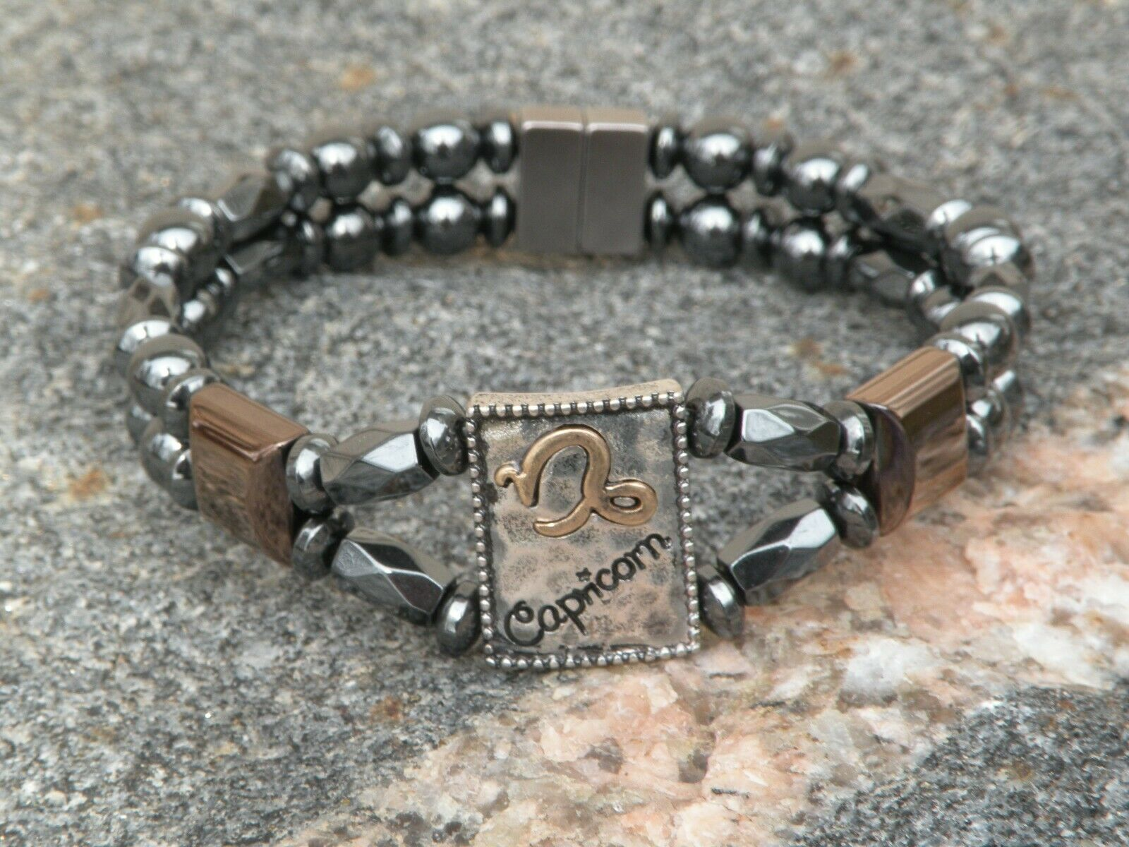 Mens Womens Capricorn Magnetic Hematite Bracelet Anklet 2 Row Zodiac Dec22-Jan19
