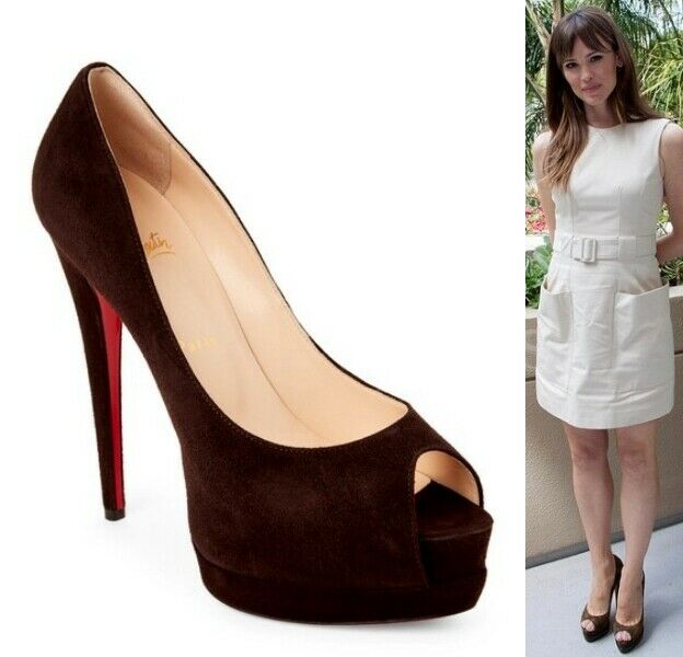 Christian Louboutin  Palais Royal Open Toe Platform Pump Chocolate Suede sz 6.5  sport caldi