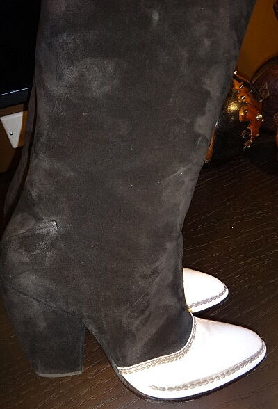 Costume National Black and White White White Suede Boots sz 39EU/8.5US cb2dee