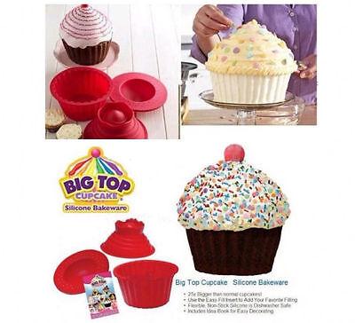 Giant Jumbo Mega Bigtop Birthday Cupcake Cup Cake Silicone Mould Bake Baking FT