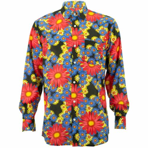 Regular Fit Long Sleeve Shirt Loud Originals Black Tropical Floral Psychedelic