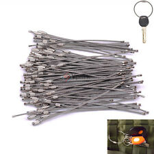 "100Packs 6"" Stainless Steel Wire Cable Keychain Key Chains Rings Bulk 15.5cm 2mm"